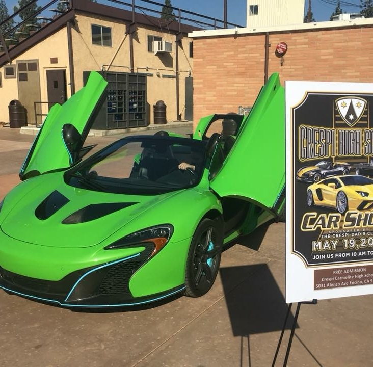 Drumming up interest for the car show. A beautiful green McLaren in the quad a few days before the event.