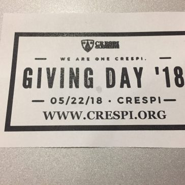 Don't forget Crespi Giving Day on 5/22/18. Go to http://www.crespi.org to support a specific program at Crespi.